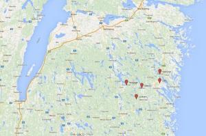 Några av de orter som Nils och hans föräldrar bodde i.